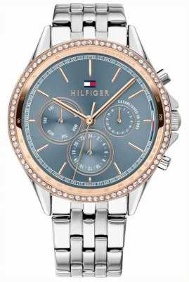 Tommy Hilfiger Womens Stainless Steel Rose Gold Plated Crystal Set Grey 1781976