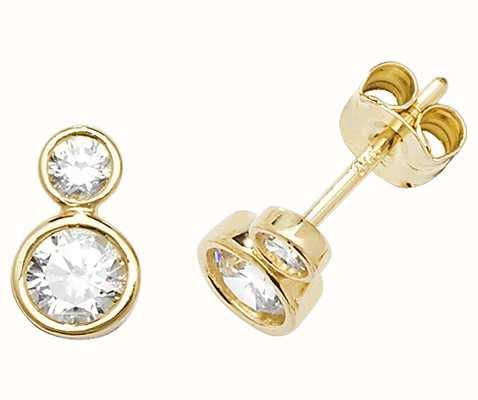 Treasure House 9k Yellow Cubic Zirconia Earrings Es554 Es554