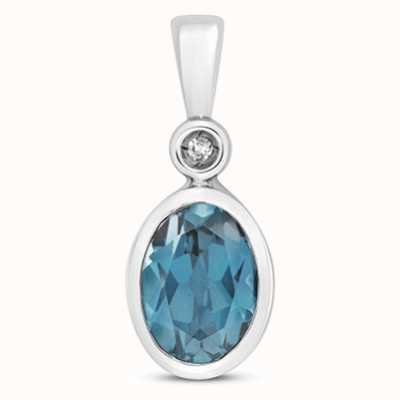 Treasure House 9k White Gold Diamond London Blue Topaz Pendant Pd249wlb