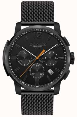 Coach Mens Bleecker Multifunction Chrono Watch Black Mesh 14602344