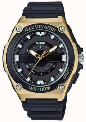 Casio Mens Black And Gold Resin Illuminator Watch MWC-100H-9AVEF