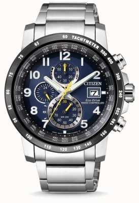 Citizen Mens Radio Controlled H800 Perpetual A-T Chronograph Stainless Steel Blue Dial AT8124-91L