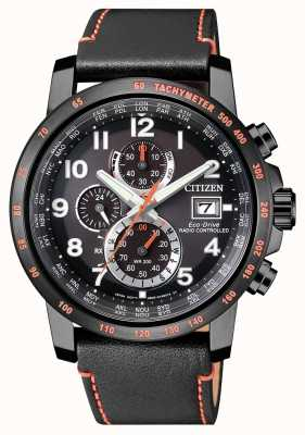 Citizen Mens Radio Controlled H800 A-T Perpetual Chronograph Black IP & Orange AT8125-05E