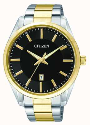 Citizen Mens Quartz Black Dial | Two Tone Stainless Steel Strap | BI1034-52E