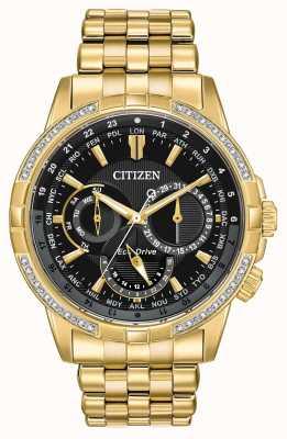 Citizen Mens Calendrier Eco-Drive Gold Plated 32 Diamonds BU2082-56E
