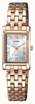 Citizen Womens Quartz Gold Plated Rectangular Case Silver Dial EJ6123-56A
