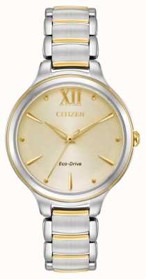 Citizen Womens Eco-Drive Two Tone Gold Dial WR50 EM0554-82X