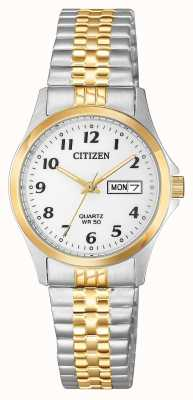 Citizen Womens Quartz Two Tone Silver Dial Expansion Bracelet EQ2004-95A