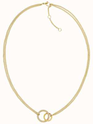 Tommy Hilfiger Double Open Circle Necklace Gold Tone 2780077