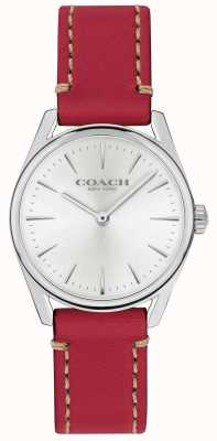 Coach Womens Modern Luxury Red Leather Strap Watch 14503205