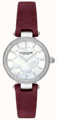 Coach Womens Modern Luxury Burgundy Leather Strap Mother Of Pearl 14503102