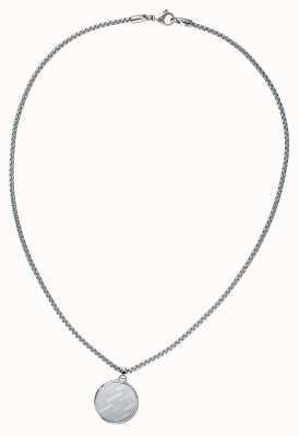 Tommy Hilfiger Round Disk Logo Necklace Silver 2790037