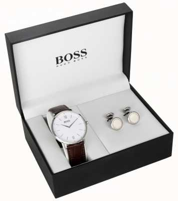 Hugo Boss Mens Brown Leather White Dial Cufflink Gift Set 1570069