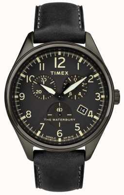 Timex Mens Waterbury Traditional Black Chrono Black Leather TW2R88400
