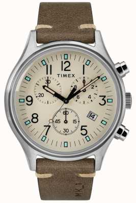 Timex Mens MK1 SST Chrono 42mm Case Brown Leather Strap TW2R96400