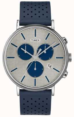 Timex Mens Fairfield Chrono Supernova Blue Strap Silver Dial TW2R97700