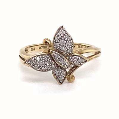 IBB 9k Yellow Gold Diamond Butterfly Ring Size N 1.84.956G