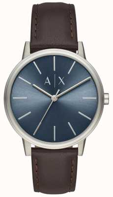 Armani Exchange Men's Watch Brown Leather Strap Blue Dial AX2704