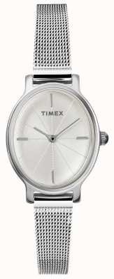 Timex Ladies Milano Oval Silver Mesh Watch TW2R94200D7PF