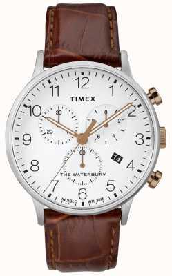 Timex Men's Waterbury Classic Chronograph Watch White Dial TW2R72100D7PF