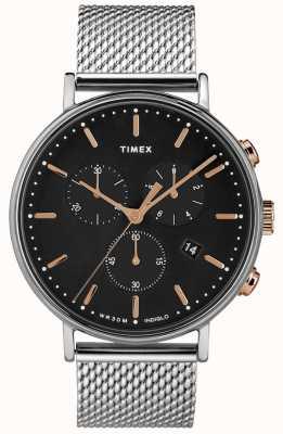 Timex Fairfield Chronograph Silver Mesh Watch Black Dial TW2T11400D7PF