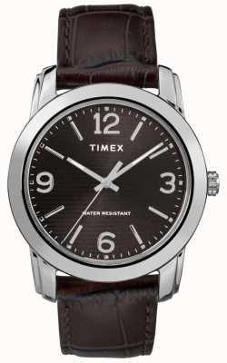 Timex Men's Brown Leather Crocodile Strap Black Dial TW2R86700