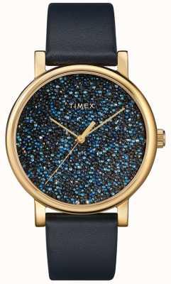 Timex Women's Blue Leather Watch With Swarovski Crystals TW2R98100D7PF