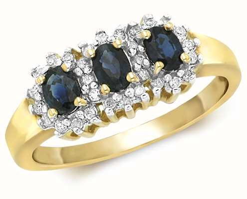 Treasure House 9k Yellow Gold Diamond Oval Sapphire Ring RD263S