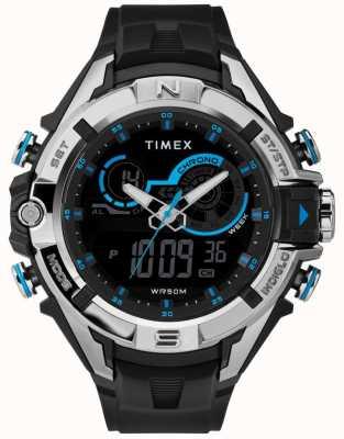 Timex Mens 47mm Black Case Chrome Ring Black Strap TW5M23000