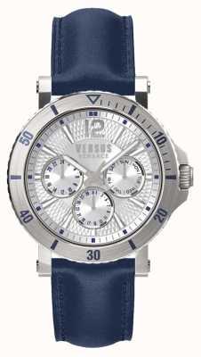 Versus Versace Mens Steenberg Silver Dial Blue Leather Strap SP52010018
