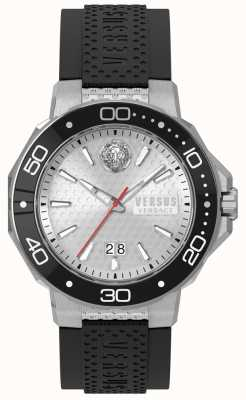 Versus Versace Mens Kalk Bay Silver Dial Black Silicone Strap vSP05010018