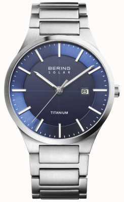 Bering Mens Solar Blue Face Silver Titanium 15239-777
