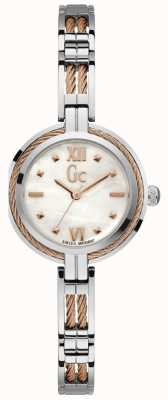 Gc Womens Cable Bijou White Mother Of Pearl Dial Two Tone Y39003L1