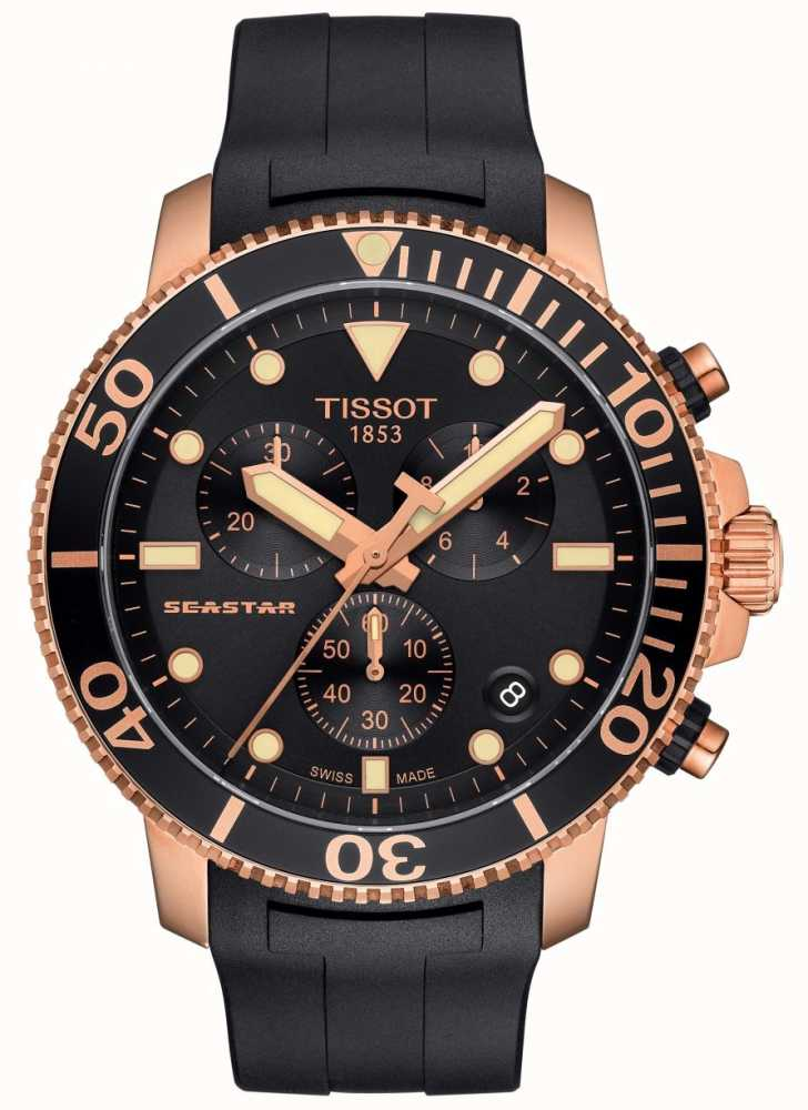 4460d4b449e Tissot Mens Seastar 1000 Quartz Chronograph Black Gold Rubber Strap ...