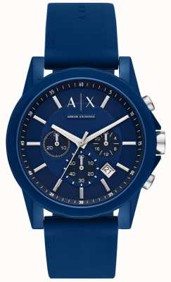 Armani Exchange Mens Sport Watch Gift Set | Blue silicon strap | AX7107
