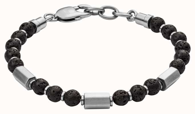 Fossil Mens Vintage Causal Black Lava Bead Bracelet JF03007040