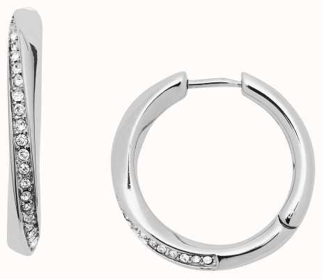 Fossil Womens Stainless Steel Crystal Set Hoop Earrings JF03015040
