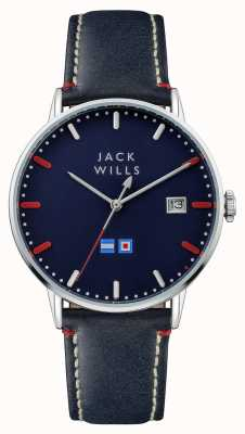 Jack Wills Mens Batson Blue Dial Blue Leather Strap JW002BLSS