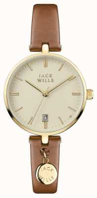 Jack Wills Womens Bennett Cream Dial Brown Leather Strap JW005CMGD