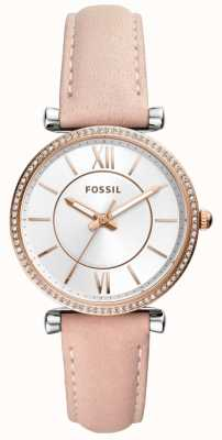 Fossil Womens Beige Leather Strap Stainless Steel Silver Dial ES4484