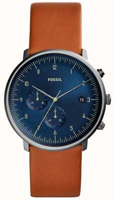 Fossil Mens Chase Watch Brown Leather Strap Blue Dial FS5486