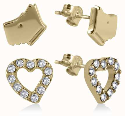 Radley Jewellery Gold Stone Set Heart And Dog Head Earrings RYJ1058