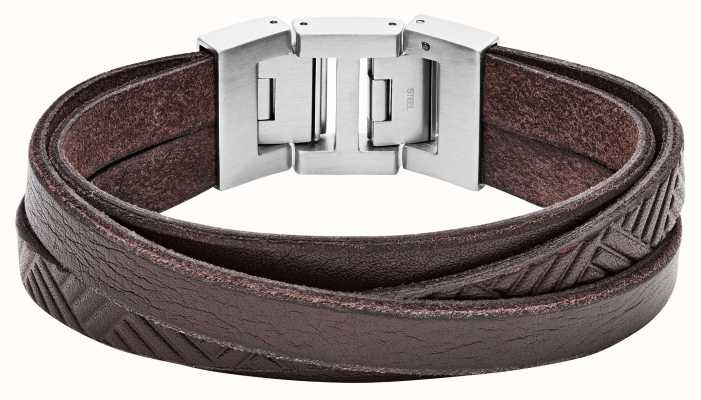Fossil Mens Bracelet Brown Leather Stainless Steel Clasp JF02999040