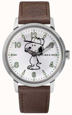 Timex Snoopy Welton Silver Dial Brown Leather Strap TW2R949007U