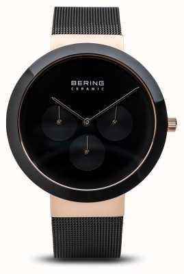 Bering Ceramic   Polished Rose Gold Case   Black Dial 35040-166