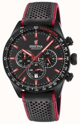 Festina Mens Chronograph Black Dial Black Leather Strap F20359/4