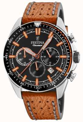 Festina Men's Chronograph Black Dial Orange Leather Strap F20377/4