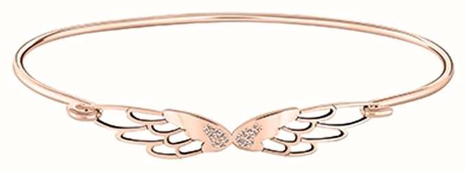 Chamilia Pave Wings Rose Gold Plated Sterling Silver ID Bangle 1010-0467