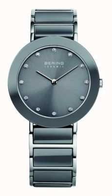 Bering Grey Ceramic Stainless Steel Bracelet Grey Dial 11435-789