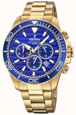 Festina Mens Gold Stainless Steel Chronograph Blue Dial F20364/2